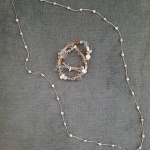 Silver necklace + beaded bracelet set!